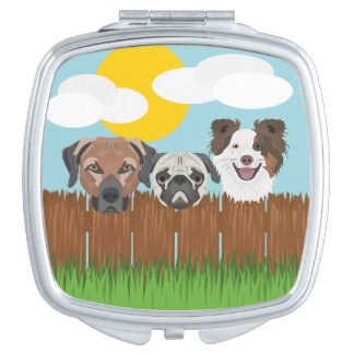 Illustration lucky dogs on a wooden fence mirror for makeup