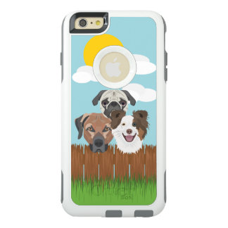 Illustration lucky dogs on a wooden fence OtterBox iPhone 6/6s plus case
