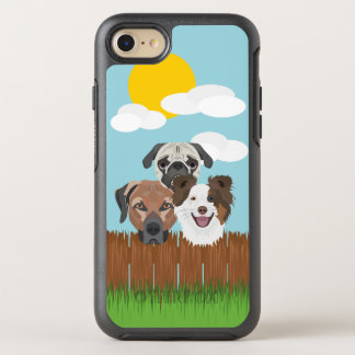 Illustration lucky dogs on a wooden fence OtterBox symmetry iPhone 8/7 case