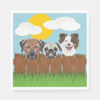 Illustration lucky dogs on a wooden fence paper napkin