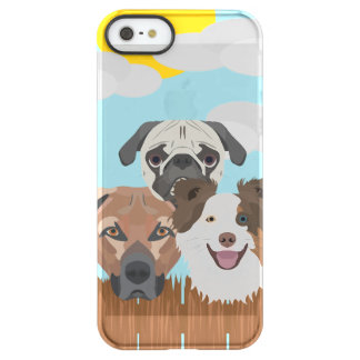 Illustration lucky dogs on a wooden fence permafrost® iPhone SE/5/5s case