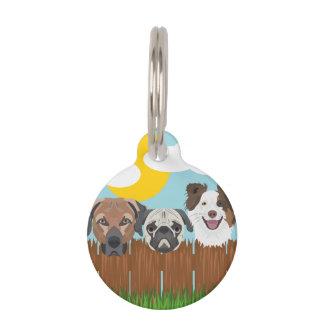 Illustration lucky dogs on a wooden fence pet ID tag
