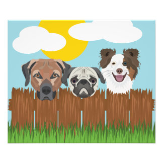 Illustration lucky dogs on a wooden fence photo print