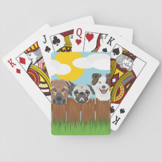 Illustration lucky dogs on a wooden fence playing cards