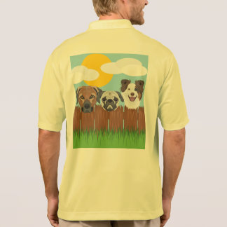 Illustration lucky dogs on a wooden fence polo shirt