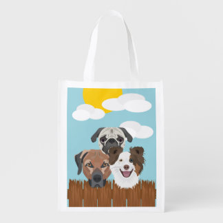 Illustration lucky dogs on a wooden fence reusable grocery bag