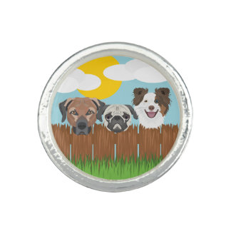 Illustration lucky dogs on a wooden fence ring