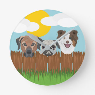 Illustration lucky dogs on a wooden fence round clock