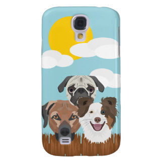 Illustration lucky dogs on a wooden fence samsung galaxy s4 case
