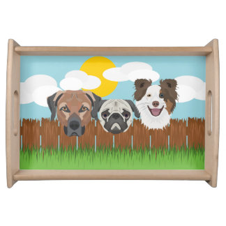 Illustration lucky dogs on a wooden fence serving tray