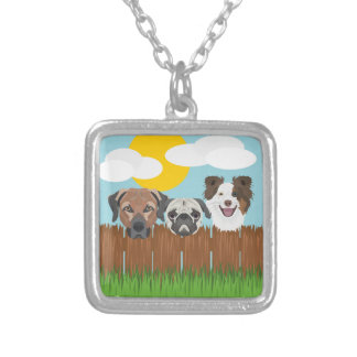 Illustration lucky dogs on a wooden fence silver plated necklace