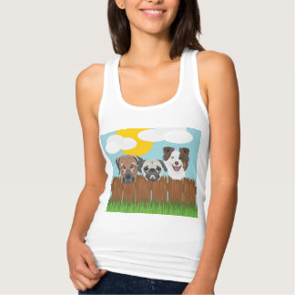 Illustration lucky dogs on a wooden fence singlet