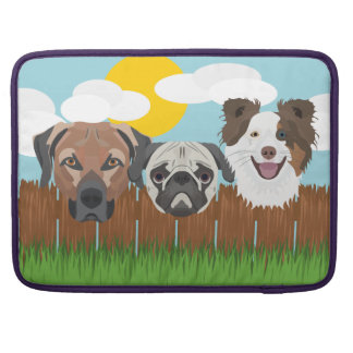 Illustration lucky dogs on a wooden fence sleeve for MacBooks