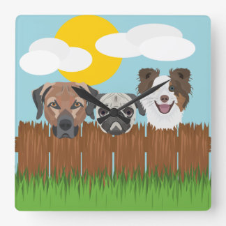 Illustration lucky dogs on a wooden fence square wall clock