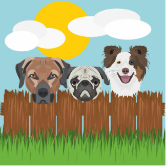 Illustration lucky dogs on a wooden fence standing photo sculpture