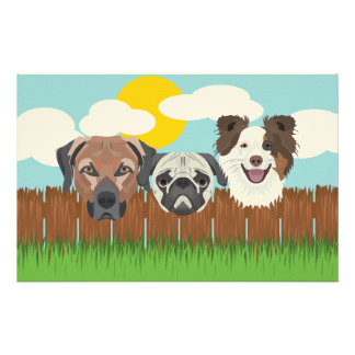 Illustration lucky dogs on a wooden fence stationery