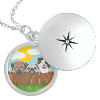 Illustration lucky dogs on a wooden fence sterling silver necklace