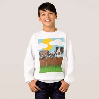 Illustration lucky dogs on a wooden fence sweatshirt