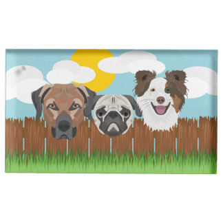 Illustration lucky dogs on a wooden fence table card holder