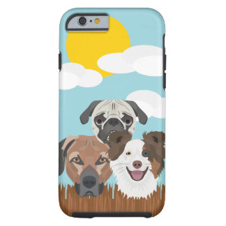 Illustration lucky dogs on a wooden fence tough iPhone 6 case