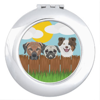 Illustration lucky dogs on a wooden fence travel mirrors