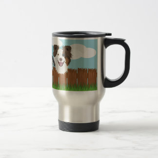 Illustration lucky dogs on a wooden fence travel mug