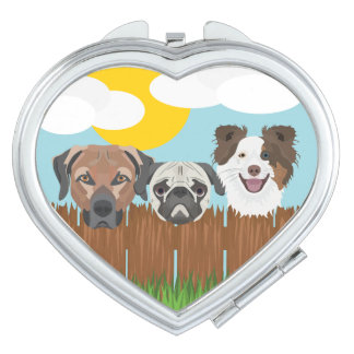 Illustration lucky dogs on a wooden fence vanity mirrors