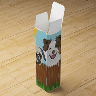Illustration lucky dogs on a wooden fence wine gift box