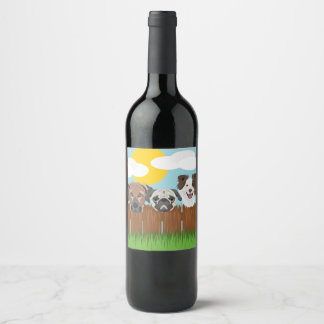 Illustration lucky dogs on a wooden fence wine label