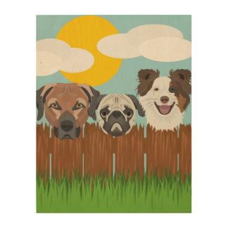 Illustration lucky dogs on a wooden fence wood print