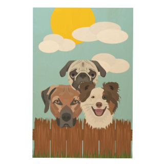 Illustration lucky dogs on a wooden fence wood wall art