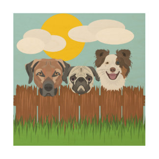 Illustration lucky dogs on a wooden fence wood wall decor
