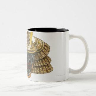 Illustration of 16th century samurai helmet Two-Tone coffee mug