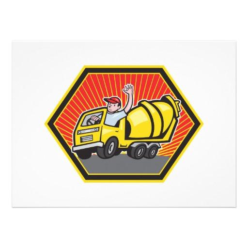 Illustration of a construction worker driver drivi custom invitations