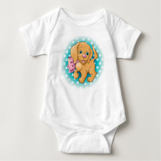 Illustration of a cute dog spaniel baby bodysuit