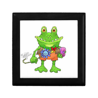 Illustration of a frog. gift box