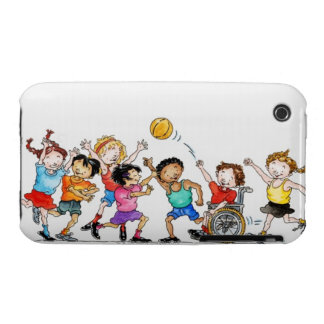 Illustration of a group of children including a iPhone 3 Case-Mate cases