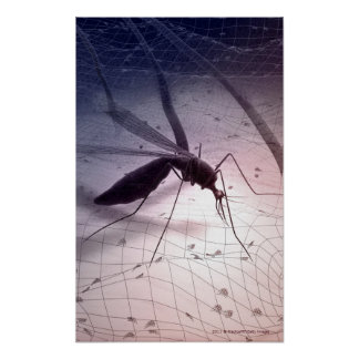 Illustration of a mosquito biting poster
