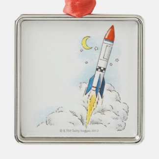 Illustration of a rocket taking off christmas tree ornament
