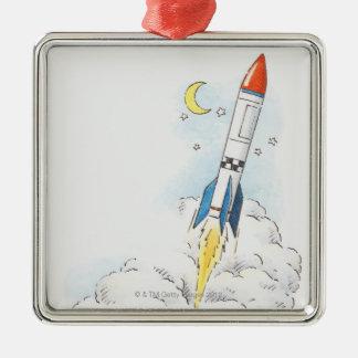 Illustration of a rocket taking off ornaments