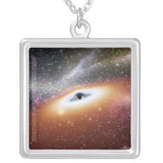 Illustration of a supermassive black hole silver plated necklace