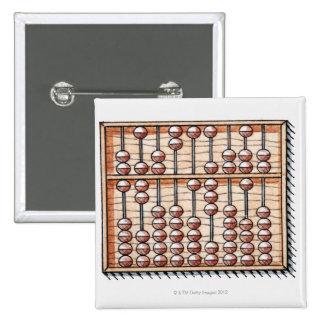 Illustration of abacus 15 cm square badge