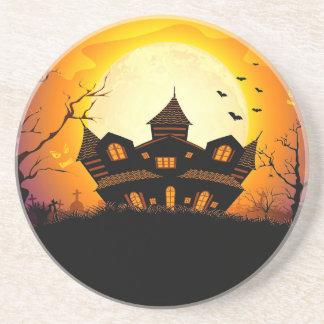 Illustration Of Abandoned Haunted House Beverage Coasters