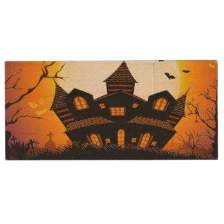 Illustration Of Abandoned Haunted House Wood USB 2.0 Flash Drive