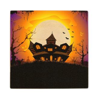 Illustration Of Abandoned Haunted House Maple Wood Coaster