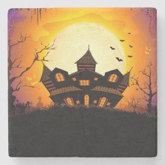 Illustration Of Abandoned Haunted House Stone Coaster