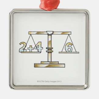 Illustration of adding numbers on scales christmas ornament