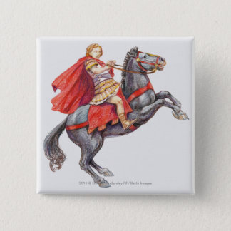 Illustration of Alexander the Great 15 Cm Square Badge