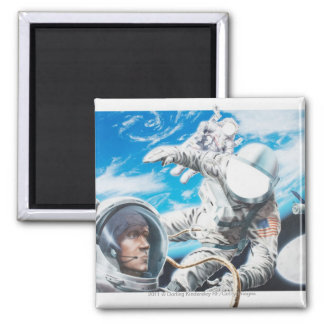 Illustration of American astronauts in space Square Magnet