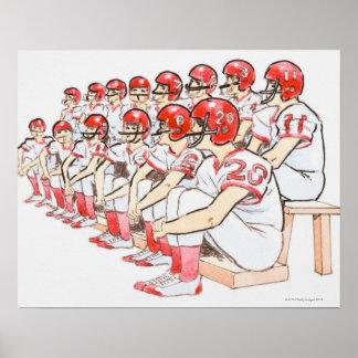Illustration of American football team sitting Posters